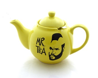 Mr.  Tea Teapot in yellow, Mr T parody , with metal tea strainer basket, stoneware upcycled, large holds 6 cups