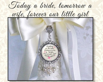 Parent Gift to Bride, Wedding Bouquet Charm, Bridal Charm, Bouquet Jewelry, Crystal & Pearl Bouquet Charm, White or Off White Ribbon Pearls