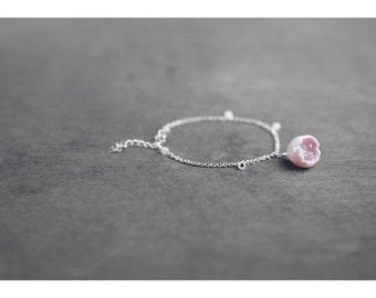 Sakura ceramic bracelet, Cherry blossom bracelet Pink bracelet Silver bracelet Rose quartz bracelet Flower bracelet Birthday gift - boohua