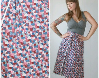 Vintage 1960s Burgundy Blue White Patchwork Pattern A-Line Wrap Around Tie Belted Skirt