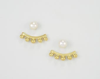 GOLD plated 5 BALLS Ear Jackets + freshwater PEARL studs. Minimalist 14k Gold Plated 5 balls Double Sided Earrings + natural pearls studs.