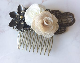 """Comb """"flowers"""" for brides and bridesmaids flowers and ivory and beige beads"""