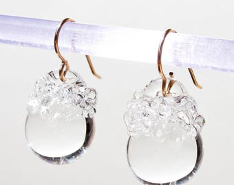 Glass Crystal Ball Earrings - Clear
