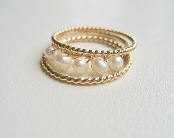 Gold Filled Pearl Ring, Delicate Pearl Gold Filled Stacking Rings, Twisted 14k gold filled ring, June Ring, Set Of 3 Gold Stacking Rings