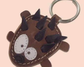 Sweet Little Hedgehog Leather Animal Keychain - FREE Shipping Worldwide - Handmade Leather Hedgehog Bag Charm