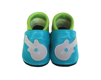 Leather Baby Booties, Baby Shoes, Guitar Shoes, Infant Newborn Nursery Children, Turquoise, Green