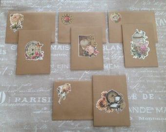 Set of 4 double cards vintage kraft + envelopes - set # 1