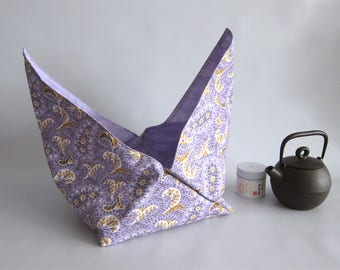 Lunch bag, Azuma bag, Bento bag, Japanese lunch bag - Purple paisley - Small