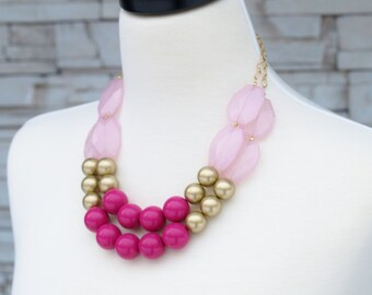 Statement Necklace, Hot Pink and Pastel Pink with Gold Beads Two Tier Strand Large chunky chain necklace, birthday gift for girlfriend wife