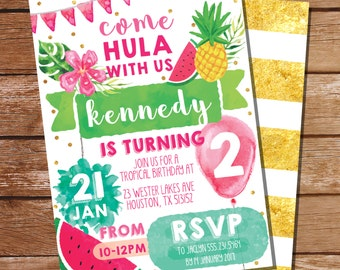 Tropical Party Invitation - Pineapple Party - Hawaiian Party Invitation - Instant Download and Edit File at home with Adobe Reader