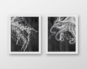 Nautical Dark Offset Set of 2 Art Prints - Nautical Decor - Octopus Art - Jellyfish Art - Nautical Art