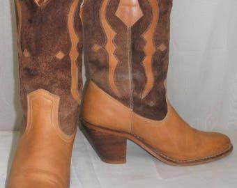 Vintage Tan Brown BOHO Leather Suede Cowboy Western Short Boots Women's 6 1/2 B