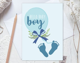 New baby card, baby announcement, baby boy announcement, new baby boy card, gender reveal card