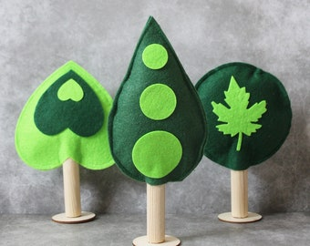 Set of 3 Felt  trees - Play Trees - Toy Trees - Waldorf Inspired Toys - Ready to ship