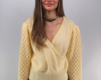 Vintage 80s Wrap Sweater, Popcorn Knit Sweater, Jumper, 80s Avant Garde Sweater Δ size: md