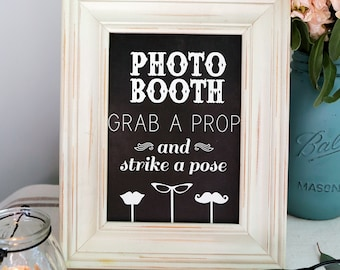 Instant Download - Chalkboard PHOTO BOOTH Sign - DIY, Wedding reception, Mustache Chalkboard Sign, Vintage Photobooth Sign, Chalkboard