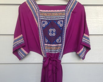 Vintage 1980s Purple Blue Long Maxi Peasant Plus Size Summer Boho Hippie Festival  Embroidery Dress