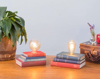 Upcycled Book Stack Lamp