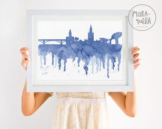 Skyline de SEVILLA  con Triana - Lamina con tonalidades azules