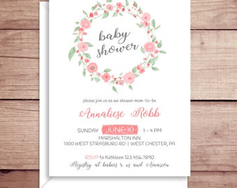 Baby Shower Invitations - Pink Floral Invitations - Pink Flowers Invitations - Floral Baby Shower Invitations - Wreath Invitations