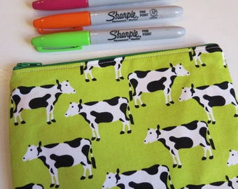 Lime green cow print pouch