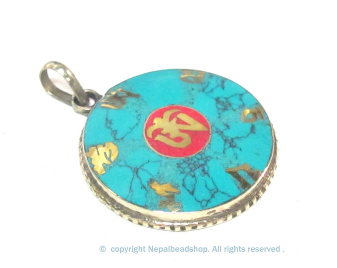 Special Sale Price - Tibetan om mantra prayer pendant with turquoise coral inlay - PM165C