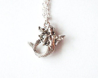 The Little Mermaid Necklace Ariel Jewelry Silver Charm Nautical Pendant Fairytale Fairy Tale Beach Accessories Minimal Womens Gift For Her