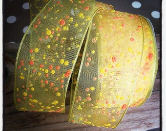 yellow and orange organza with wire 38 mm Ribbon