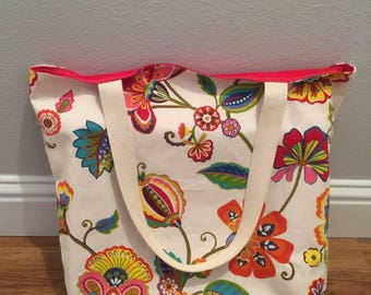 Floral Print Lined Beach Bag