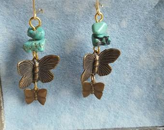 Antiqued Bronze Butterfly Earrings