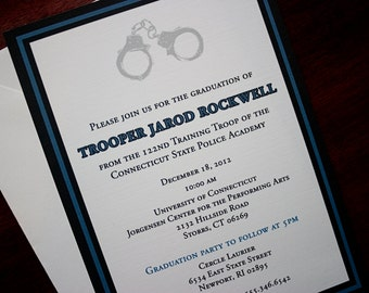 Thin Blue Line - Police Academy Graduation Announcement or Invitation