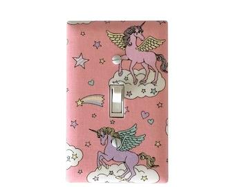 Unicorn pink Light Switch Plate Cover / Girls Room  Bathroom Decor / Nursery  Light switch plate/ wall decor