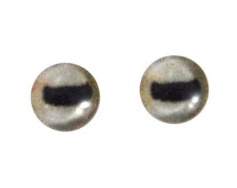 8mm Goat Glass Eyes - Pale Animal Eyes Eyes - Glass Eyes for Doll, Sculpture, Taxidermy or Jewelry Making - Set of 2