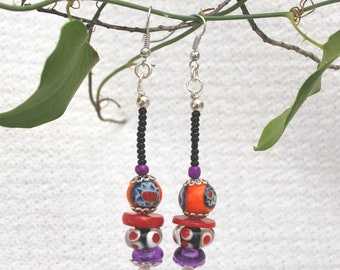 Pop Star- Earrings with orange/red/purple/black, glass beads, Bohemian beads, long earrings,boho earrings,bohemian earrings,bohemian jewelry