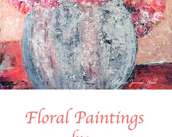 Peachy Pink Acrylic Floral Painting. Flower Art. Gift for Her Dining Room Wall Painting. 74
