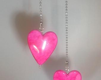 Fête des mères jour cadeau coeur lumière Unique Fan tirer au plafond boule chaîne lampe romantique chambre Decor chambre d'enfant rose coeur amour Tween Teen livraison gratuite