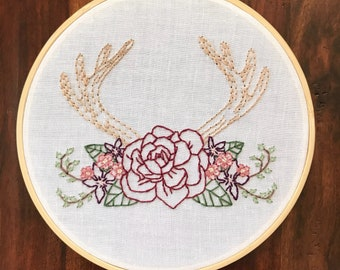 "Antler Bouquet | 7"" Embroidery Hoop 
