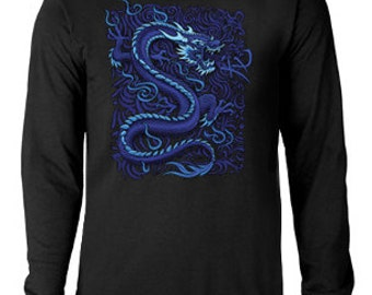 Long sleeve T-shirt / Blue Dragon