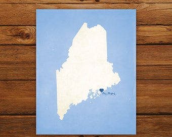 Customized Maine State Art Print, State Map, Heart, Silhouette, Aged-Look Personalized Print