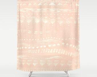 Blush Pink Geometric Shower Curtain, Pink Shower Curtain, Blush Pink Curtain,  Light Pink