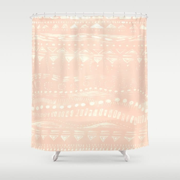 Blush Pink Geometric Shower Curtain pink shower curtain
