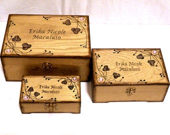Wedding Box Set, Wedding Gift Set, Wooden Box Set, Personalized Box Set, Custom Jewelry Box Set, Engraved Box Set, Anniversary Gift Set