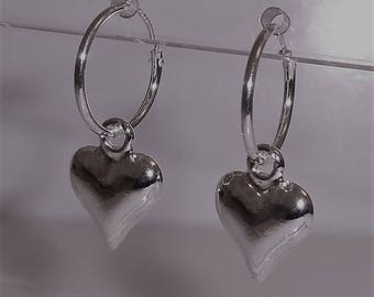 Sleeper Hoop & Heart Charm Earrings.