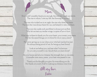 GIFT FOR MOM from Daughter Mom Poem Print Mom Birthday Gift