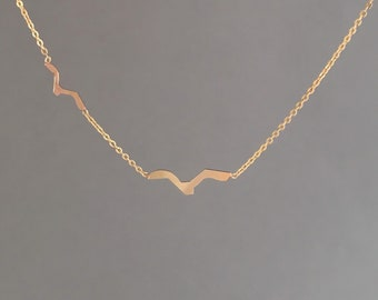 Two Flying Birds Gold Necklace also in Rose Gold or Silver