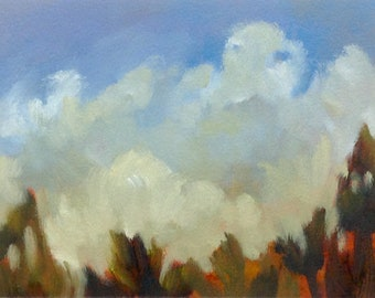 CLOUD LOVE, original oil painting, landscape, 100% charity donation, 5x7 oil painting on paper