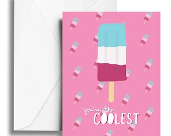 "Raspberry Pink ""You're the Coolest"" Popsicle Notecard"
