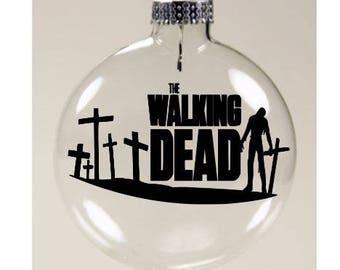 Crosses Walking Dead Walker Zombie  Christmas Ornament Glass Disc Holiday Horror Merch Massacre