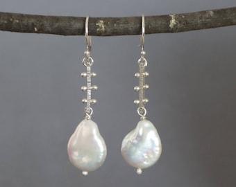 Pearl Earrings, White Coin Pearl Earrings, Bar Earrings