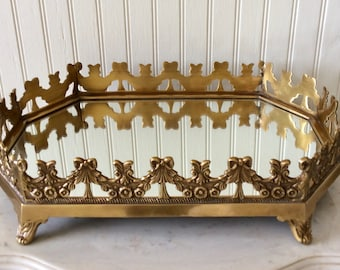 Vintage Large Brass Ornate Vanity Tray, Footed,  Mirrored Tray, Octagon, Flowers/Bows, French Country, Victorian, Hollywood Regency